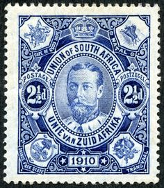 """Union of South Africa 1910 Scott 1 blue """"George V"""" With the Union Parliament opening on November this lovely engraved pence blue was issued. Each corner has the coat of arms of the four founding provinces and ex-colonies."""