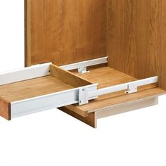 Floor-Mounted Drawer Slides with Metal Sides - Rockler Woodworking Tools - for toe kick drawers Kitchen Pull Out Drawers, Kitchen Cabinet Drawers, Kitchen Pulls, Wood Drawers, Kitchen Cabinets, Open Kitchen, Rv Cabinets, Diy Cupboards, Inside Cabinets