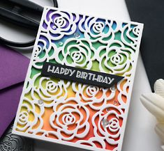 This is part of a series on improving my card making by studying other designers' cards. If you're unfamiliar with this series, you can . Rainbow Card, Rainbow Colors, Distress Oxide Ink, Die Cut Cards, Birthday Woman, Simple Flowers, Card Sketches, Homemade Cards, I Card