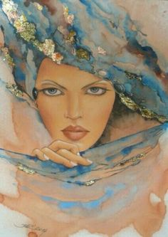 Blue and Peach Orange - Iwona Wierkowska-Rogowska Galeria ART Shades Of Peach, Blue Peach, Illustrations Vintage, Illustration Art, Woman Painting, Painting & Drawing, World Of Color, Face Art, Art World