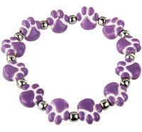 Ceramic Purple Paw Bracelet at The Animal Rescue Site -- other animal items available on this site also. Good Birthday and Christmas gifts.