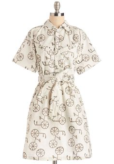 What I Bike About You Dress. Its true - you really know how to dance, and this eco-friendly, bicycle-print frock always takes you for a spin!  #modcloth