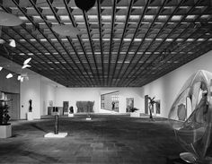 Marcel Breuer.  Whitney Museum of American Art.  A view of the galleries (1966) (Ezra Stoller/ESTO).