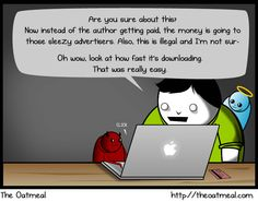 Right versus pragmatic?  #Piracy & Oatmeal!  The Oatmeal's awesome comic illustrates the problem well: demand is rapidly increasing for accessing movies and TV shows outside of their traditional distribution channels, and rather than addressing this demand, the publishers are making it even harder to get their content legally in these contexts.