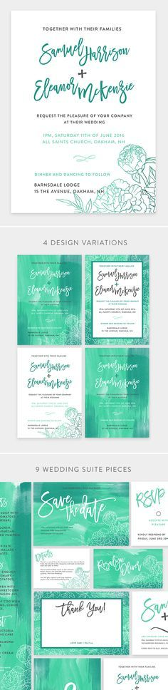 Teal Watercolour Wedding Invite - Wedding Suite, 9 Pieces with 4 design variations. Diy Wedding Invitations Templates, Simple Wedding Invitations, Watercolor Wedding Invitations, Wedding Invitation Templates, Invites, Flower Outline, Wedding Suite, Wedding Company, Engagement Invitations