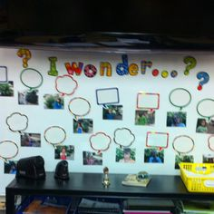 Wonder Wall with all the kids' pictures for them to write their questions.
