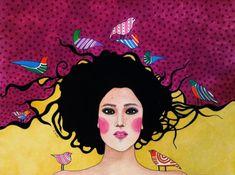 """confide in me"" by Hülya Özdemir Art And Illustration, Watercolor Illustration, Watercolour, Art Pop, Fantasy Kunst, Fantasy Art, Altered Book Art, Kunst Poster, Beauty Art"
