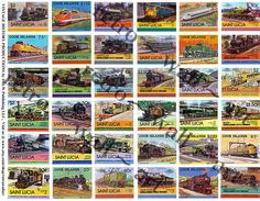Railroad Stamps, DIGITAL DOWNLOAD, Collage Sticker, Railway Theme Stamps, Stamp Memorabilia, Stamp Clip Art, Train Stamps, Steam Engine, 351 by retrowallart on Etsy