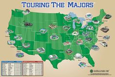 Touring the Majors ballpark map poster - Totally want this to document all the mlb parks we go to!