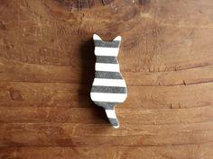 縞々猫箸置き(白黒) - 暮縞TABLE