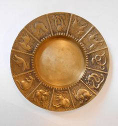 Vintage Solid Brass Chinese Horoscope Trinket / Candle /