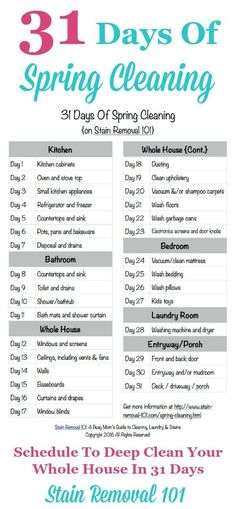 31 Days Of Spring Cleaning: Get The Plan Here Free printable 31 Days Of Spring Cleaning schedule, to deep clean your whole home in 31 days {courtesy of Stain Removal The Plan, How To Plan, Deep Cleaning Tips, House Cleaning Tips, Cleaning Solutions, Cleaning Hacks, Diy Hacks, Deep Cleaning Schedule, Speed Cleaning