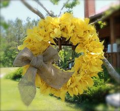 Primitive Burlap Wreath Gold Yellow Mustard by tinkerscottage, $60.00