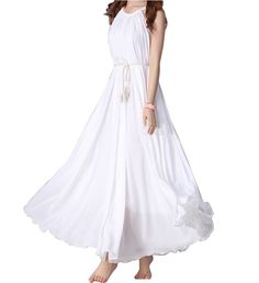 e892a609723 Buy Etc Now  Apparel  Yacun Women s Bohemian Casual Chiffon Swing Maxi Slip  Flowy Dress