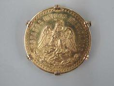 """MONNAIE """"Mexique.50 pesos, 1944, monté en pendentif.Poids: 48 gr."""" Vendue le 11/07/14 par Art Valorem"""