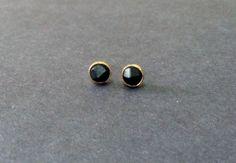 3D Black Circle - Post Stud Earrings
