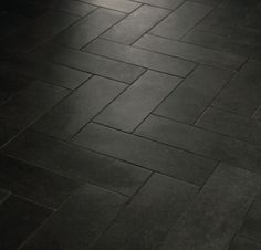 Herringbone Pattern with Crossville Tile | Main Street line ... Boutique Black use light grout to show off the pattern! Subtle strayations or color variance add interest and texture