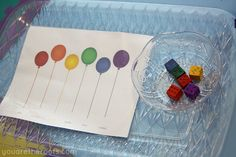 Color matching balloon activity, using painted dice!