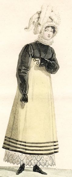 A fashion plate of a Spencer, 1814. Note the pattern of the spencer, notably different from the earliest models of the directoire period. See shoulders and sleeves volume.