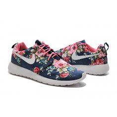 Billig Herren Damen Nike Roshe One Print Blumen - Marine blau rosa Blumen  Laufen 595b3baad4