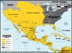 Nueva España en 1800 (no incluidos los territorios insulares del Océano Pacífico).