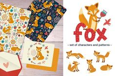 Foxes. Characters and Patterns by Anna Guz's Store on @creativemarket