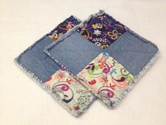 rag quilt denim fabric pot holders by hmcreationsbyV on Etsy, $15.00