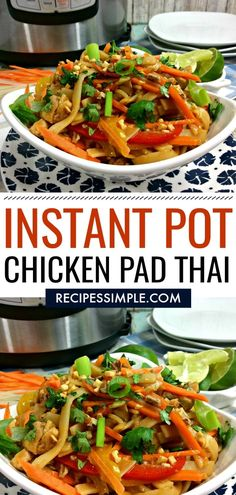 Instant Pot Chicken Pad Thai is a quick and easy meal that is done in less than 15 minutes! You can make it at home in less time than it takes to get take-out and it tastes better. via pot recipes thai Instant Pot Chicken Pad Thai Beef Recipes, Chicken Recipes, Healthy Recipes, Yummy Recipes, Recipe Chicken, Thai Food Recipes Easy, Lunch Recipes, Seafood Recipes, Instapot Recipes Chicken