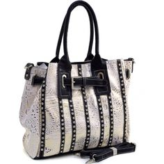Women's Belted Metallic Croco Fashion Tote Bag Striped with Rhinestones - fashlets.com