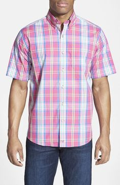 Men's Cutter & Buck 'Bradford Plaid' Classic Fit Short Sleeve Sport Shirt
