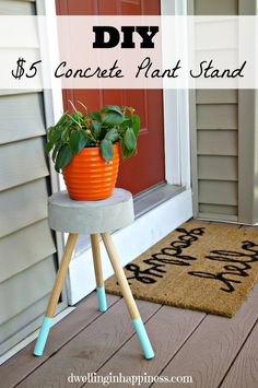 Make your own DIY Concrete Plant Stand for about $5! You can also use it as a stool, too!