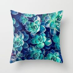 Plants of Blue And Green Throw Pillow