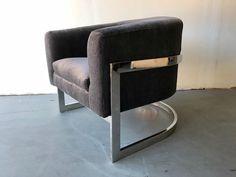 Mid-Century Modern Chrome Barrel Back Lounge Chair Attributed to Milo Baughman #MidCenturyModern