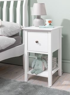 Asora makes a cute bedside companion to your bed. Simple and chic, Asora has just enough space for a pretty lamp or cute ornament, whilst it's deep drawer and shelving area indicates functionality. #kidsbedroom #bedroomideas #kids #kidstoys Bedside Drawers, Bedside Storage, Table Storage, Bedroom Storage, Storage Spaces, Drawer Shelves, Shelving, Slim Bedside Table, Shabby Chic Side Table