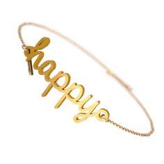 Happy Bracelet - Zazzy 3d Printed Jewelry, Jewelry Tags, Positive Words, Custom Design, Gold Necklace, Bracelets, Happy, Prints, Bangle Bracelets