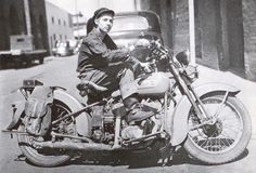This is thought to be a photo of Abe Zimmerman (father of Bob Dylan) in 1938. Taking the last ride on his Harley before giving up riding to save money. His wife asked him to give up his bachelor lifestyle to start a family.
