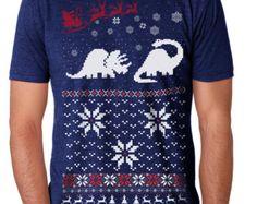 Ugly Christmas sweater t shirt -- Dinosaur Sweater -- mens unisex -- sizes sm med lg xl xxl skip n whistle