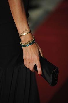 Afef Jnifen Beaded Bracelet - Afef Jnifen wore beautiful gold and green beaded bracelets at the World Music Awards 2010.