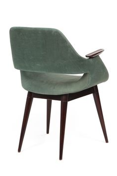 Arthur Umanoff Suede & Walnut Arm Chair