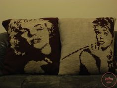 Thank you for sharing this photo:)  #Audrey Hepburn and #Marilyn Monroe patterned hand knitted #pillows by bibu atelier