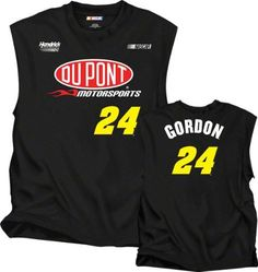 Jeff Gordon DuPont Sleeveless T-Shirt: Jeff Gordon #24 Name and Number Sleeveless T-Shirt by Checkered Flag. $21.99. Calling all NASCAR enthusiasts. Are you the ultimate Jeff Gordon fan? Represent your favorite driver when you step out in this officially licensed Jeff Gordon DuPont Sleeveless T-Shirt: Jeff Gordon #24 Name and Number Sleeveless T-Shirt. With bold screen print graphics and a rib-knit collar, this super comfy tee is perfect for any casual or die-hard sup...