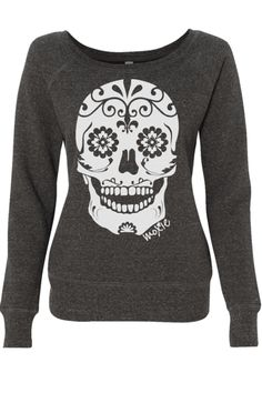 This super comfy, Day of the Dead inspired, wide neck sugar skull sweatshirt is the PERFECT thing to keep you warm AND spunky to and from the gym. Buy it online!