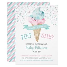 Shop Gender Reveal Invitation Ice Cream Party created by Pixabelle. Gender Reveal Themes, Gender Reveal Party Invitations, Gender Reveal Party Decorations, Diy Party Decorations, Shower Invitations, Pregnancy Gender Reveal, Baby Gender Reveal Party, Pregnancy Photos, Gender Party