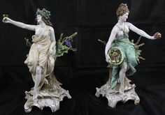 "Stunning Antique ""Dresdan"" Porcelain Figurines (13""H). Each of the figurines has the same Hallmark which indicates it is probably from Scheibe-Alsbach, a town in the Thruringia Region of Germany. I believe these to be a 2 of a Four Seasons Group."