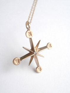 Compass Wind rose 10K yellow Gold Diamond by pablovalencia on Etsy, $450.00
