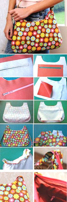 Bag with zipper. Sew Tutorial http://www.handmadiya.com/2015/07/bag-with-zipper.html