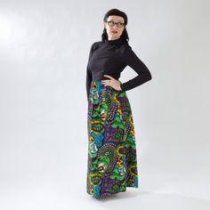 Very Cool Formal Retro 1970s Dress- Full-Length, Black with Fun Print Skirt on Etsy, $45.00