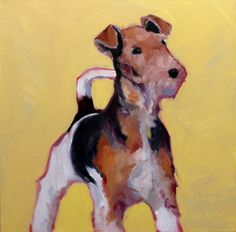 TERRIER, an original 12 x 12 x 1.5 inch oil painting on stretched canvas by Yvonne Wagner. Dog Painting. Terrier Painting. Fox Terrier.. $145.00, via Etsy.