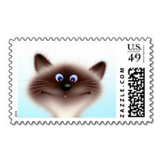 Cheerful Cat Stamp. This great stamp design is available for customization or ready to buy as is. Of course, it can be sent through standard U.S. Mail. Just click the image to make your own!