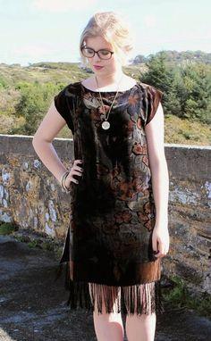 e9dbf374f3 Black and Earthy Floral Velvet Devore Tassel by AliceHalliday